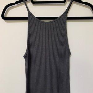 Midi Gray Ribbed Dress